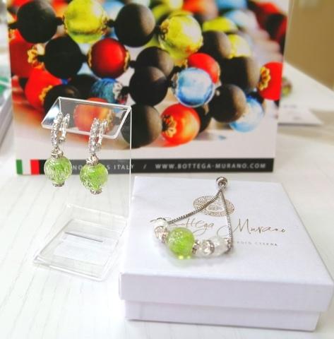 Комплект из браслета и серег со стразами Franchesca Ca'D'oro Medio Light Erba 020OB