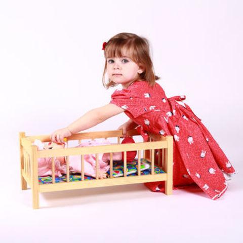 Кукольная кроватка-качалка деревянная