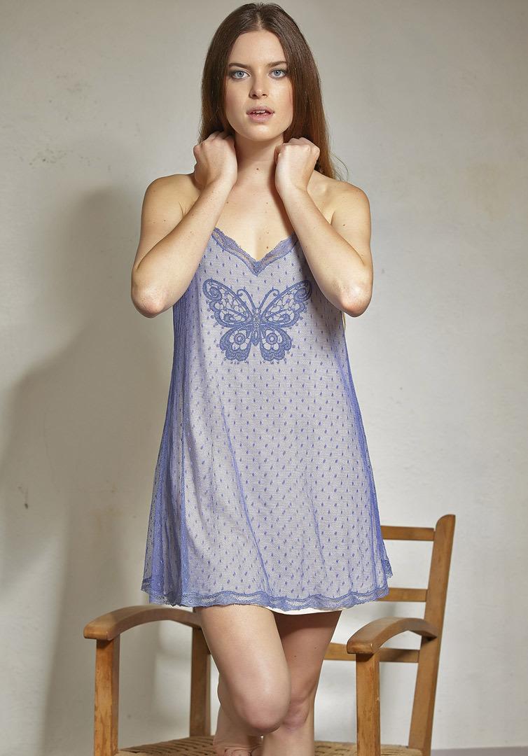 Короткая ночная сорочка с бабочкой Rebecca & Bros (Домашние платья и ночные сорочки)