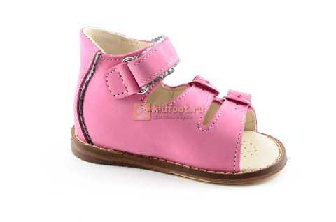 Босоножки Тотто на первый шаг из натуральной кожи открытые для девочек, цвет розовый. Изображение 2 из 10.