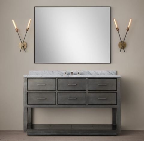 La Salle Metal-Wrapped Single Extra-Wide Washstand