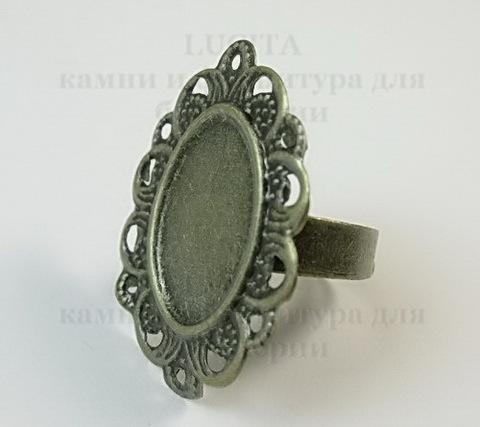Основа для кольца с сеттингом для кабошона 17х12 мм (цвет - античная бронза) ()