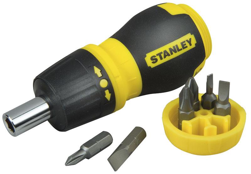 Отвертка держатель короткая с храповым механизмом + 6 бит Stanley 0-66-358