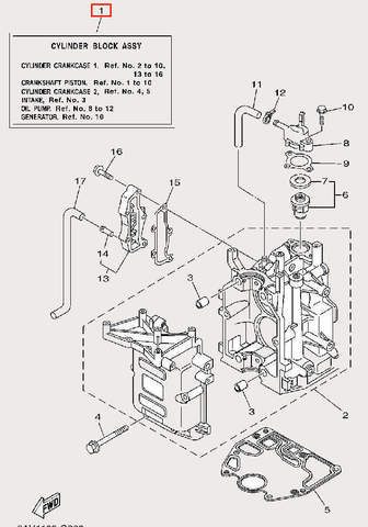 Двигатель в сборе для лодочного мотора F9,9 Sea-PRO (2-1)