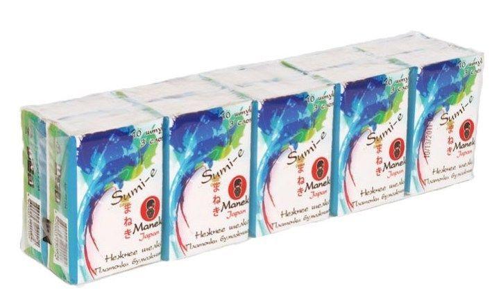 Платочки бумажные, MANEKI, Sumi-e, без аромата, 10х10 шт.