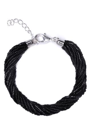 Бисерный браслет 12 нитей черный