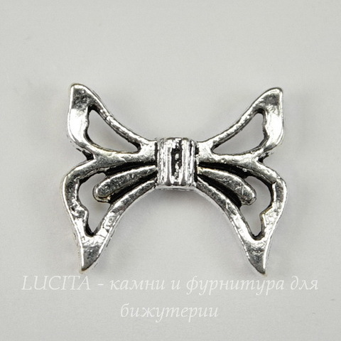 "Бусина металлическая ""Бантик"" (цвет - античное серебро ) 20х17 мм"