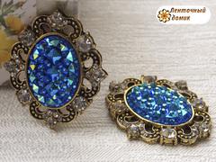 Камни ежики в оправе старое золото синие