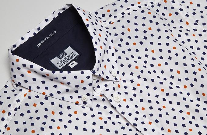Мужская рубашка с коротким рукавом Weekend Offender Echo Cream. Коллекция весна-лето 2016.