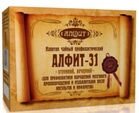 Фитосбор Алфит-31 Для профилактики нарушений мозгового кровообращения и реабилитации после инсультов и инфарктов, 60 ф/п*2г