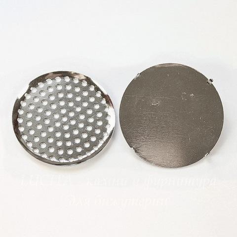 Основа для броши с ситом 35 мм (цвет - платина) (обычный замок)