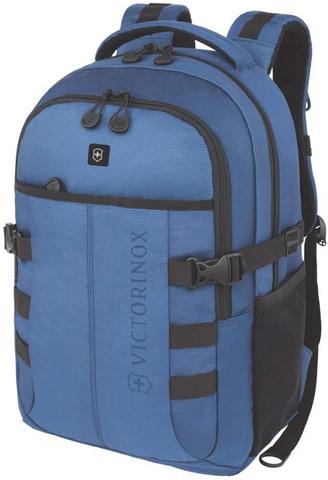 Качественный с гарантией прочный рюкзак синий объёмом 20 л из полиэстера 900D с отделением для ноутбука или планшета диагональю 16'' и наружными карманом для бутылки или зонтика VICTORINOX VX Sport Cadet 16'' 31105009
