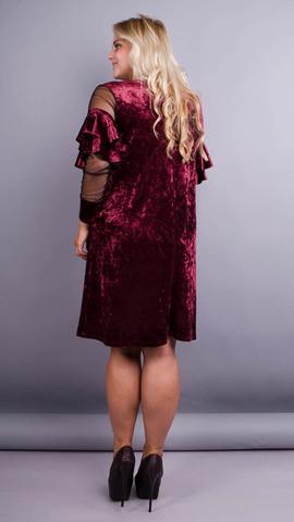 Юнона бархат. Нарядное женское платье плюс сайз. Бордо.
