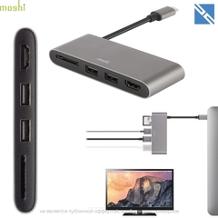 Переходник Moshi USB-C to Dual USB, HDMI, SD ридер Multimedia Adapter темно-серый
