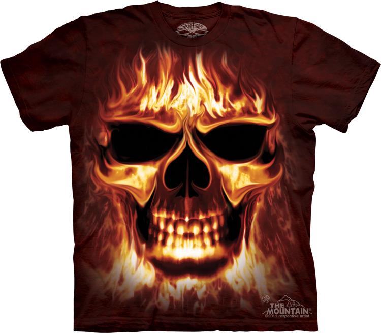 Футболка Mountain с изображением огненного черепа - Skulfire