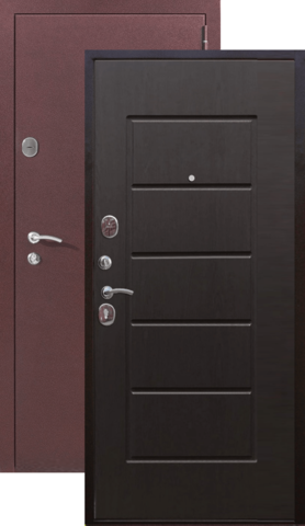 Дверь входная Бронин Грань 75, 2 замка, 1,4 мм  металл, (медь антик+дуб темный)