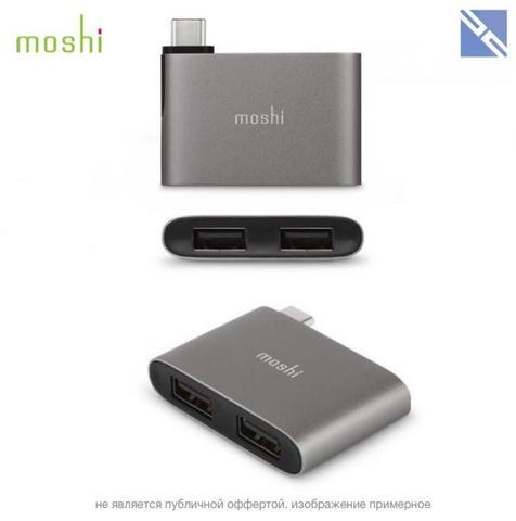 Переходник Moshi USB-C to Dual USB-A Adapter серый титан