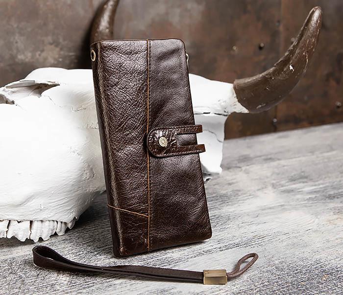 WL299-2 Мужской клатч с ремешком из натуральной кожи фото 02