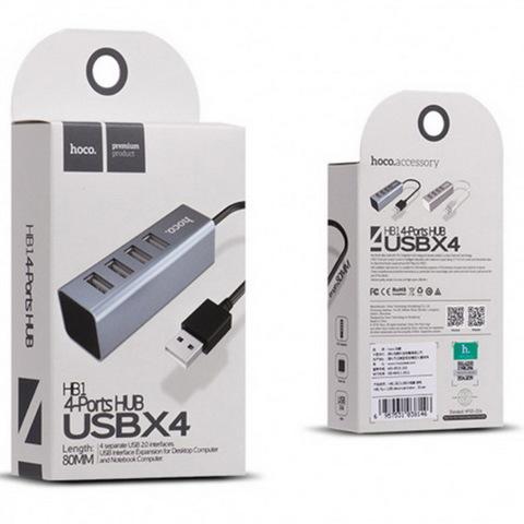 Концентратор USB-HUB Hoco HB1 Line Machine metal, 4xUSB, 0.8m.