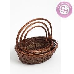 Корзина плетеная из ивы, овальная, коричневая, 1 шт.