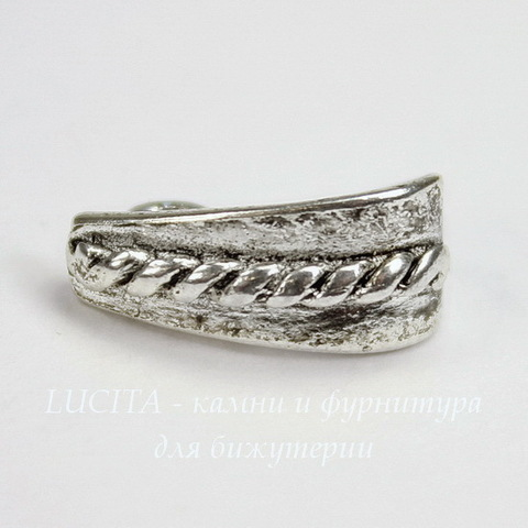 "Бейл с петелькой ""Плетенка"" 14х7х6 мм (цвет - античное серебро)"