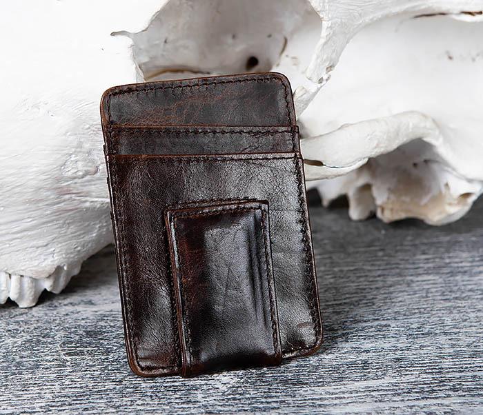 WL306-2 Кожаный зажим для денег с магнитом фото 02