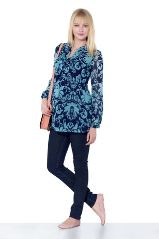 Блузка 07132 синий/бирюзовый