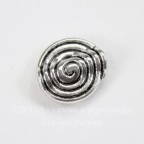 """Бусина металлическая круглая плоская """"Спираль"""" 11х10 мм (цвет - античное серебро)"""