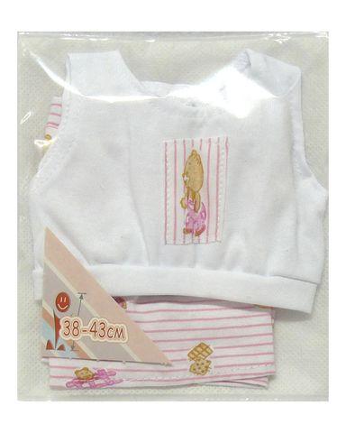 Летний костюмчик - Белый / розовый. Одежда для кукол, пупсов и мягких игрушек.