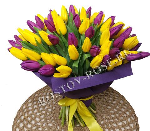 25 Тюльпанов фиолетово-желтый микс