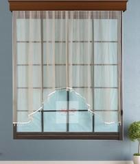 Короткий тюль-арка со стеклярусами. Клайм (светло-коричневый)