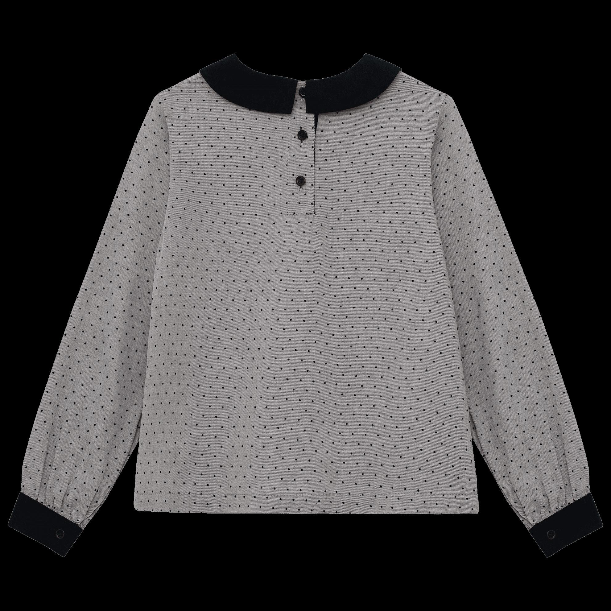 Серая блузка в черный горошек