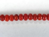 Бусина из коралла красного, облагороженного, фигурная, 3x5 мм (рондель, граненая)