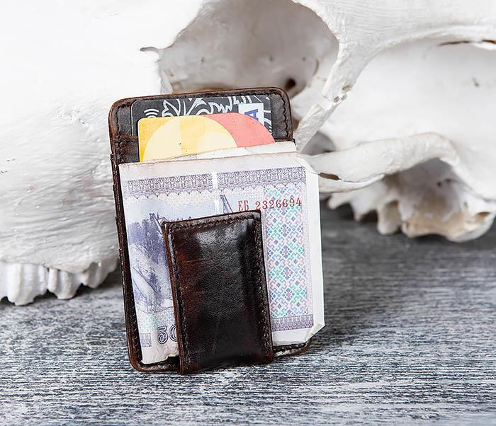 WL306-2 Кожаный зажим для денег с магнитом фото 05
