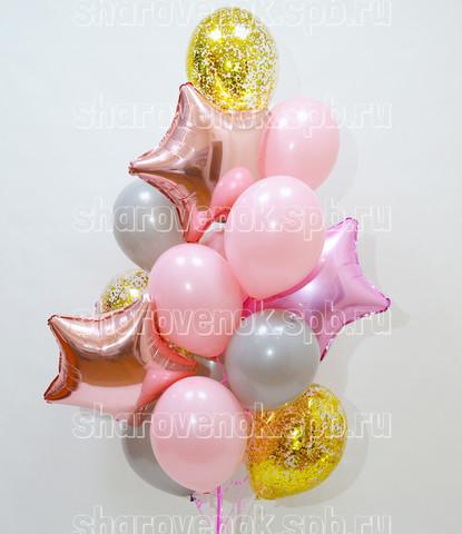 фонтан из шаров,  розовые и серые шары