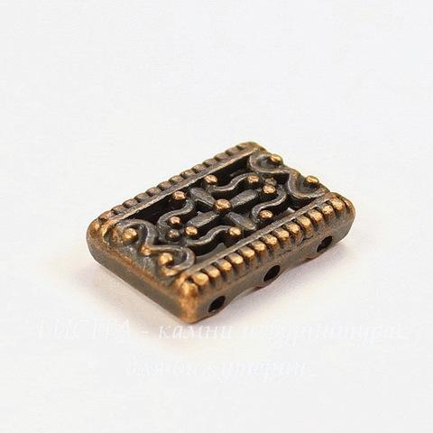 Разделитель на 3 нити 17х12 мм (цвет - античная медь)