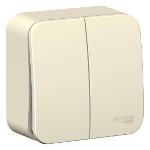 Выключатель двухклавишный накладной 10А. 250В. Цвет Молочный. Schneider Electric Blanca. BLNVA105012