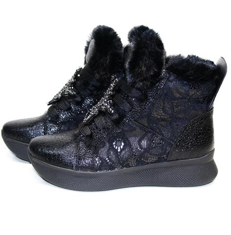 Черные кроссовки сникерсы с мехом - кожаные кроссовки зимние женские Kluchini