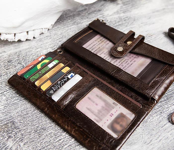 WL299-2 Мужской клатч с ремешком из натуральной кожи фото 10