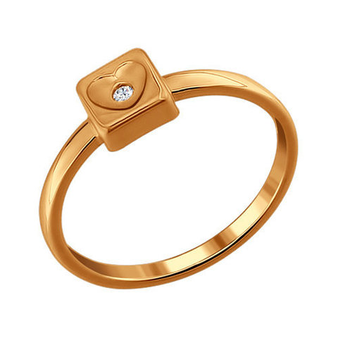 Кольцо из золочёного серебра с фианитом