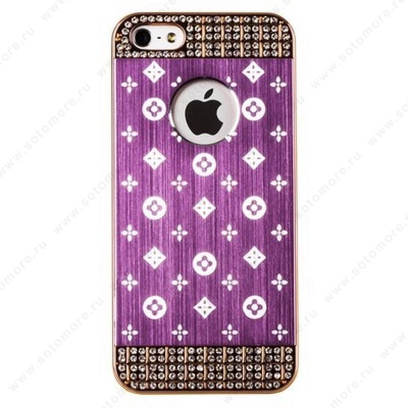Накладка LV металлическая для iPhone SE/ 5s/ 5C/ 5 золото светло-розовая