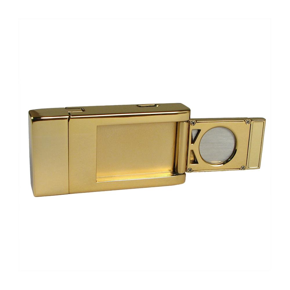 Зажигалка Pierre Cardin кремниевая газовая турбо, для сигар, цвет позолота/черный лак, 3,5х1,6х7см