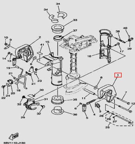 Скоба струбцины правая для лодочного мотора F5 Sea-PRO(16-1)
