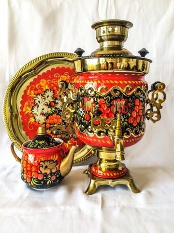 Самовар электрический трехлитровый в наборе с подносом и чайником с художественной росписью «Золотая рябина»