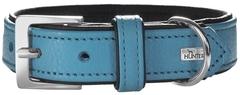 Ошейник для собак, Hunter Capri  55 (42-48 см)3,4 см натуральная кожа, бирюзовый/черный