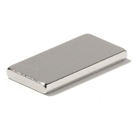 Магнит 10х4х1 мм, N42H, никель, неодимовый блок