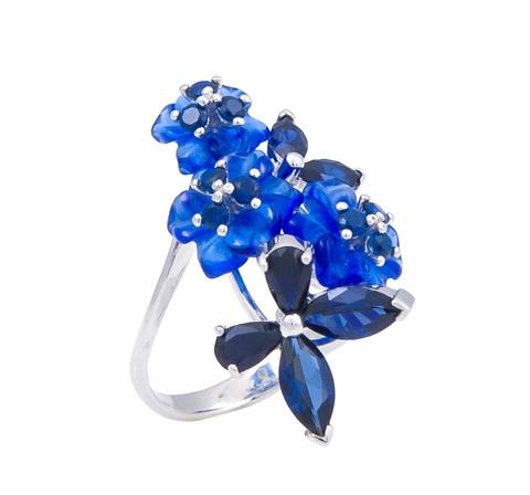 Кольцо с цветами из кварца и сапфиром Арт. 1195сс