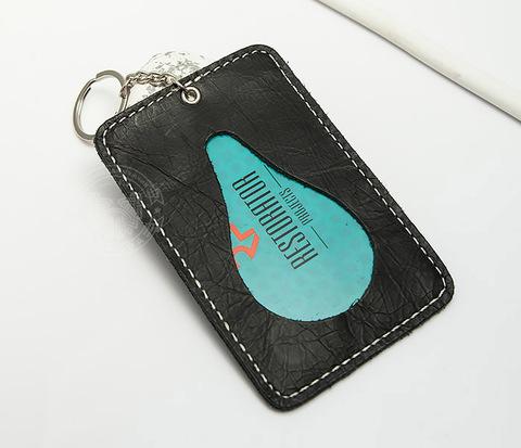 BC129-1 Кожаный футляр для карточек с кольцом и цепочкой