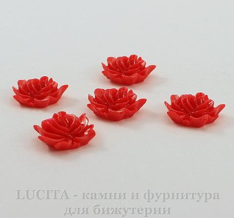"""Кабошон акриловый """"Дикая роза"""", цвет - красный, 12х10 мм, 5 штук"""
