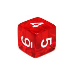 Куб D6 прозрачный: Красный 16мм с цифрами